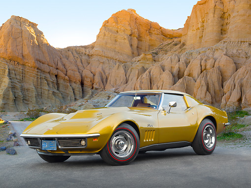 VET 03 RK0722 01 © Kimball Stock 1969 Chevrolet Corvette L88 Gold 3/4 Front View On Pavement By Red Rock