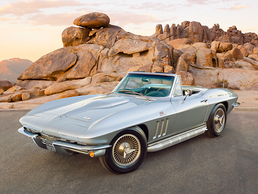 VET 03 RK0734 01 © Kimball Stock 1966 Chevrolet Corvette L72 427/425HP Roadster Gray 3/4 Front View On Pavement By Red Rock