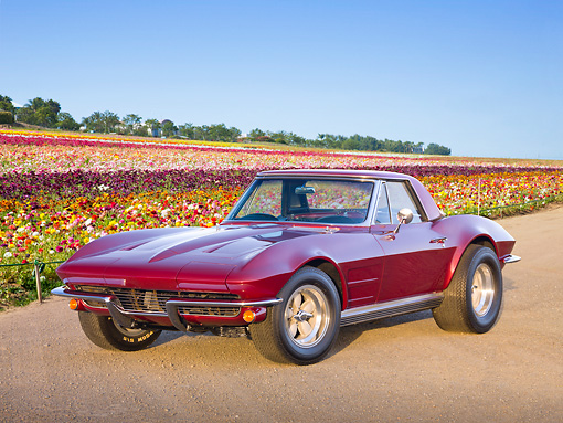 VET 03 RK0760 01 © Kimball Stock 1964 Chevrolet Corvette Burgundy 3/4 Front View On Gravel By Field Of Flowers