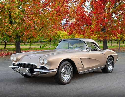 VET 03 RK0803 01 © Kimball Stock 1962 Chevrolet Corvette 327ci Sand Pearl 3/4 Front View On Pavement By Autumn Trees