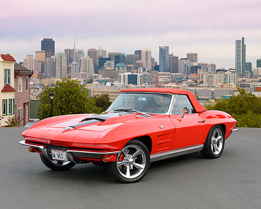 VET 03 RK0815 01 © Kimball Stock 1964 Chevrolet Corvette Red 3/4 Front View On Pavement Overlooking City
