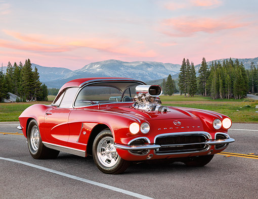VET 03 RK0823 01 © Kimball Stock 1962 Chevrolet Corvette Pro Street Roadster Red 3/4 Front View On Road By Mountains At Dusk