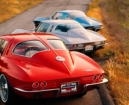 VET 03 RK0076 03 © Kimball Stock 1963-1967 Chevrolet Corvettes Parked On Hill On Road 3/4 Rear View