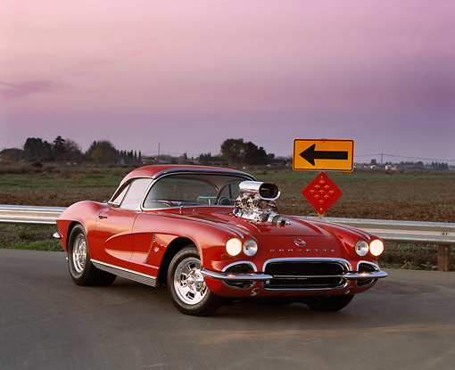 VET 03 RK0253 05 © Kimball Stock 1962 Chevrolet Corvette Pro Street Roadster Red 3/4 Front View On Pavement