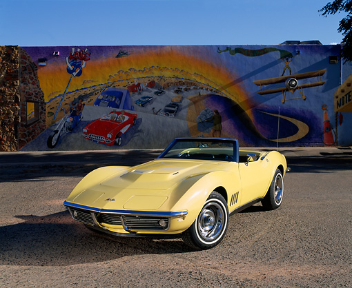 VET 03 RK0282 04 © Kimball Stock 1968 Chevrolet Corvette 427 Convertible Yellow 3/4 Front View On Pavement