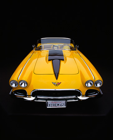VET 03 RK0380 08 © Kimball Stock 1962 Extreme Chevrolet Corvette Convertible Yellow Overhead Wide Angle Head On Studio