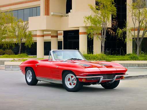 VET 03 RK0546 01 © Kimball Stock 1963 Chevrolet Corvette Sting Ray Convertible Red 3/4 Front View By Building