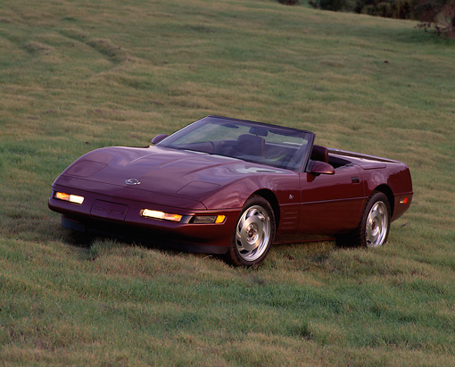 VET 04 RK0010 07 © Kimball Stock 1993 Chevrolet Corvette Anniversary Edition Convertible Burgundy 3/4 Front View On Grass