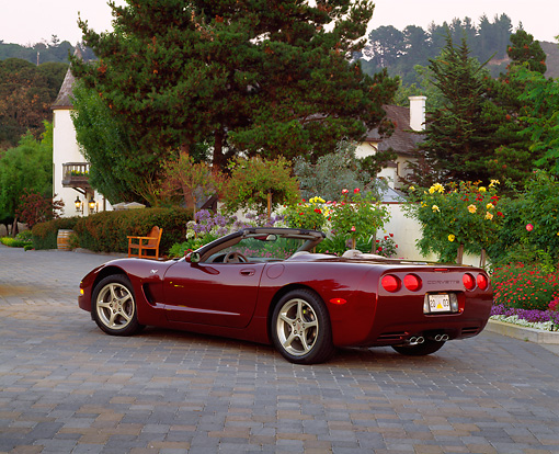 VET 04 RK0031 02 © Kimball Stock 2003 Chevrolet Corvette 50th Anniversary Edition Burgundy Rear 3/4 View On Driveway By Flowers And Trees