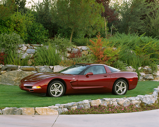 VET 04 RK0038 02 © Kimball Stock 2003 Chevrolet Corvette 50th Anniversary Edition Burgundy Side 3/4 View On Grass By Trees And Bushes