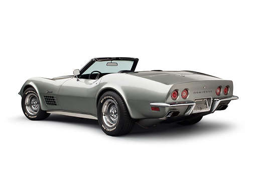 VET 05 BK0003 01 © Kimball Stock 1972 Chevrolet Corvette LT-1 Steel Cities Gray 3/4 Rear View On White Seamless