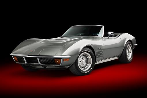 VET 05 BK0006 01 © Kimball Stock 1972 Chevrolet Corvette LT-1 Steel Cities Gray 3/4 Front View In Studio