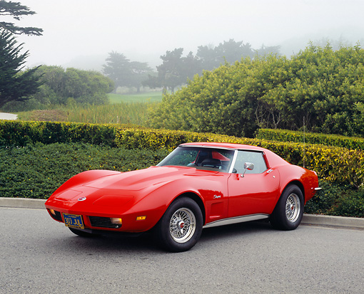 VET 05 RK0129 02 © Kimball Stock 1973 Chevrolet Corvette Coupe Red 3/4 Front View On Pavement By Bushes