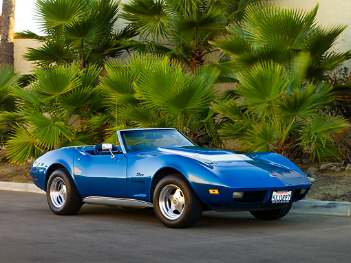 VET 05 RK0152 01 © Kimball Stock 1974 Chevrolet Corvette Convertible Blue 3/4 Front View On Pavement By Palm Trees
