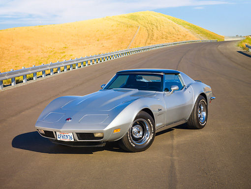 VET 05 RK0166 01 © Kimball Stock 1973 Chevrolet Corvette Coupe Silver 3/4 Front View By Hill