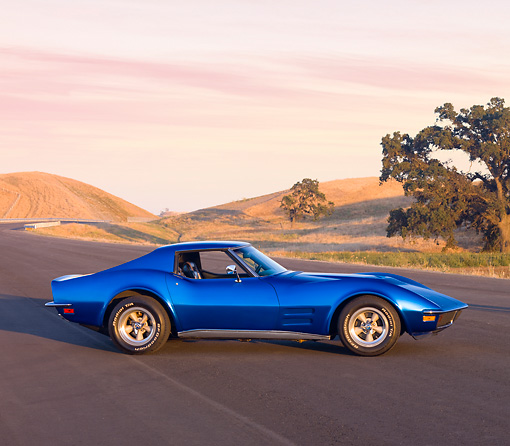 VET 05 RK0179 01 © Kimball Stock 1972 Chevrolet Corvette Coupe Blue 3/4 Front View By Hill Trees