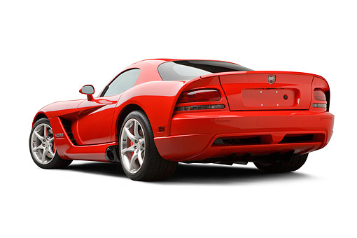 VIP 01 BK0003 01 © Kimball Stock 2009 Dodge Viper SRT/10 Red 3/4 Rear View On White Seamless