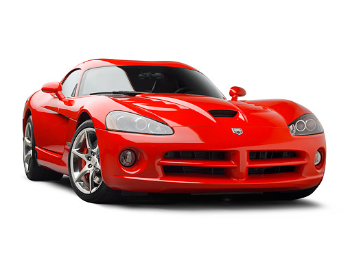 VIP 01 BK0011 01 © Kimball Stock 2009 Dodge Viper SRT/10 Red 3/4 Front View On White Seamless