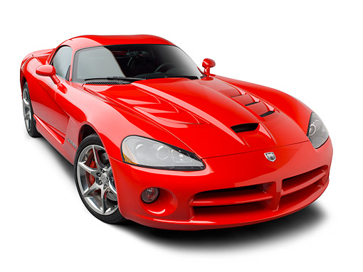 VIP 01 BK0014 01 © Kimball Stock 2009 Dodge Viper SRT/10 Red 3/4 Front View On White Seamless