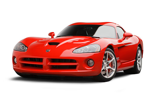 VIP 01 BK0017 01 © Kimball Stock 2009 Dodge Viper SRT/10 Red 3/4 Front View On White Seamless