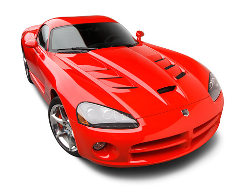 VIP 01 BK0021 01 © Kimball Stock 2009 Dodge Viper SRT/10 Red 3/4 Front View On White Seamless