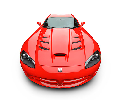 VIP 01 BK0026 01 © Kimball Stock 2009 Dodge Viper SRT/10 Red Front View On White Seamless