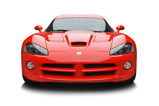 VIP 01 BK0028 01 © Kimball Stock 2009 Dodge Viper SRT/10 Red Front View On White Seamless