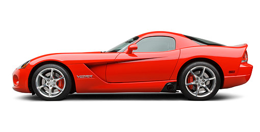 VIP 01 BK0029 01 © Kimball Stock 2009 Dodge Viper SRT/10 Red Profile View On White Seamless