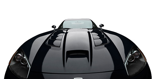 VIP 01 BK0038 01 © Kimball Stock 2009 Dodge Viper SRT/10 Black Front View On White Seamless