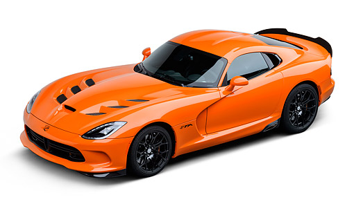 VIP 01 BK0046 01 © Kimball Stock 2014 SRT Viper TA Special Edition Orange 3/4 Front View On White Seamless