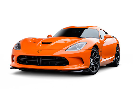 VIP 01 BK0047 01 © Kimball Stock 2014 SRT Viper TA Special Edition Orange 3/4 Front View On White Seamless