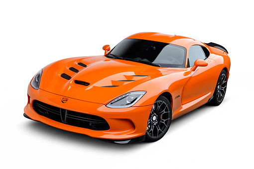 VIP 01 BK0053 01 © Kimball Stock 2014 SRT Viper TA Special Edition Orange 3/4 Front View On White Seamless
