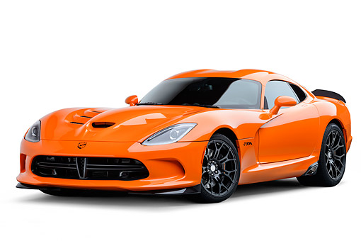 VIP 01 BK0057 01 © Kimball Stock 2014 SRT Viper TA Special Edition Orange 3/4 Front View On White Seamless