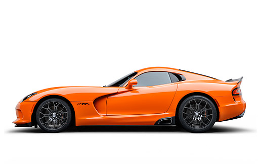 VIP 01 BK0058 01 © Kimball Stock 2014 SRT Viper TA Special Edition Orange Profile View On White Seamless