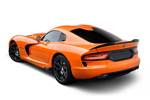 VIP 01 BK0061 01 © Kimball Stock 2014 SRT Viper TA Special Edition Orange 3/4 Rear View On White Seamless