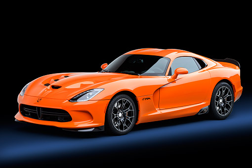 VIP 01 BK0064 01 © Kimball Stock 2014 SRT Viper TA Special Edition Orange 3/4 Front View In Studio