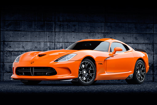 VIP 01 BK0066 01 © Kimball Stock 2014 SRT Viper TA Special Edition Orange 3/4 Front View On Concrete