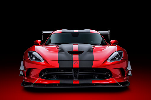 VIP 01 BK0068 01 © Kimball Stock 2016 Dodge Viper ACR Coupe  Extreme Aero Package Handcrafted Supercar Front View In Studio