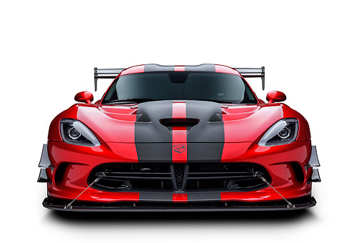 VIP 01 BK0069 01 © Kimball Stock 2016 Dodge Viper ACR Coupe Extreme Aero Package Handcrafted Supercar Front View In Studio