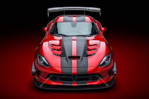 VIP 01 BK0070 01 © Kimball Stock 2016 Dodge Viper ACR Coupe Extreme Aero Package Handcrafted Supercar Front View In Studio