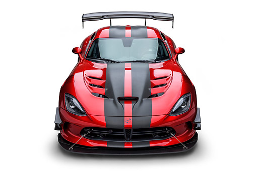 VIP 01 BK0071 01 © Kimball Stock 2016 Dodge Viper ACR Coupe Extreme Aero Package Handcrafted Supercar Front View In Studio