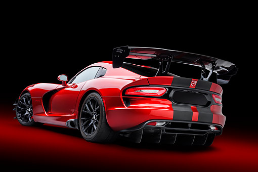 VIP 01 BK0081 01 © Kimball Stock 2016 Dodge Viper ACR Coupe Extreme Aero Package Handcrafted Supercar 3/4 Rear View In Studio