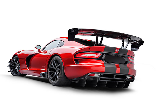 VIP 01 BK0082 01 © Kimball Stock 2016 Dodge Viper ACR Coupe Extreme Aero Package Handcrafted Supercar 3/4 Rear View In Studio