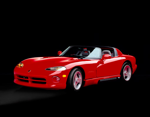 VIP 01 RK0056 06 © Kimball Stock 1992 Dodge Viper Convertible Red 3/4 Front View Studio