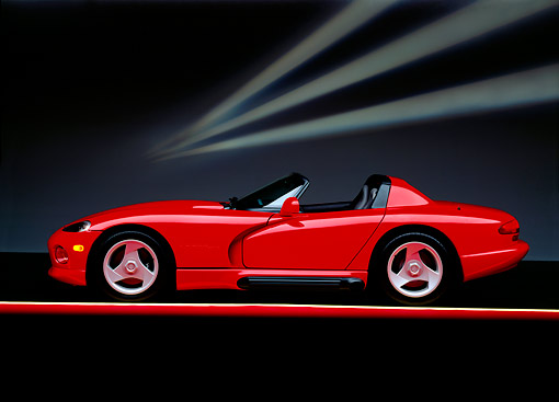 VIP 01 RK0065 01 © Kimball Stock 1992 Dodge Vipe Convertible Red Profile On Red And Yellow Lines Studio