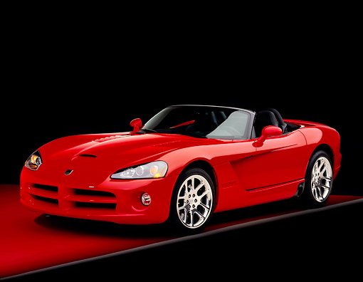 VIP 01 RK0178 02 © Kimball Stock 2003 Dodge Viper SRT-10 Convertible Red 3/4 Front View On Red Floor Gray Line Studio