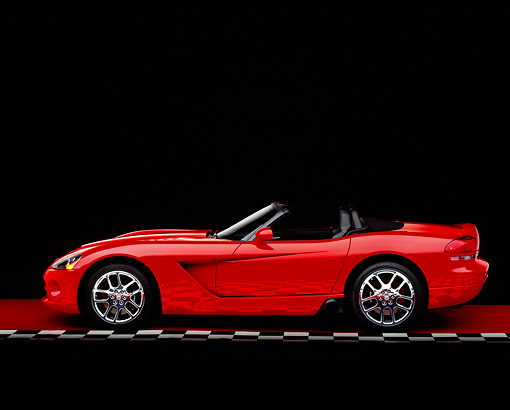VIP 01 RK0180 06 © Kimball Stock 2003 Dodge Viper SRT-10 Convertible Red Profile On Checkered Line Red Floor Studio