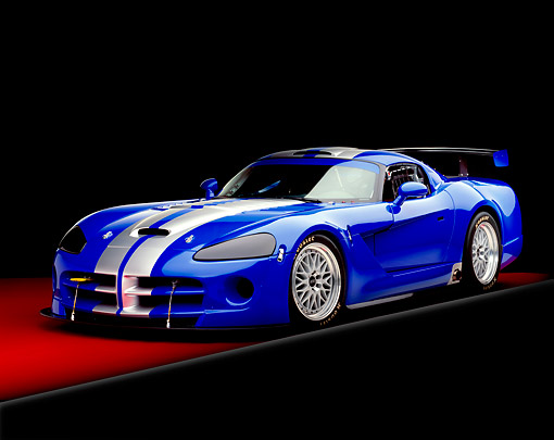 VIP 01 RK0195 04 © Kimball Stock 2003 Dodge Viper Competition Coupe Blue Silver Stripe 3/4 Front View On Red Floor Gray Line