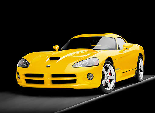 VIP 01 RK0303 01 © Kimball Stock 2009 Dodge Viper SRT/10 Coupe Yellow 3/4 Front View Studio