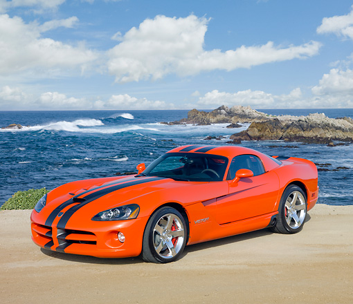VIP 01 RK0304 01 © Kimball Stock 2010 Dodge Viper SRT/10 Coupe Orange With Black Stripe 3/4 Front View On Beach